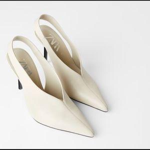 Leather Zara slingback heel